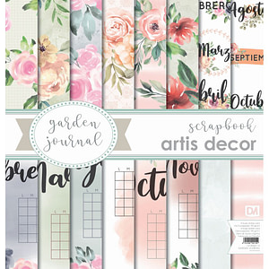 "COLECCION PAPEL SCRAP 12X12""+12X6"" ARTIS DECOR ""GARDEN JOURNAL"""
