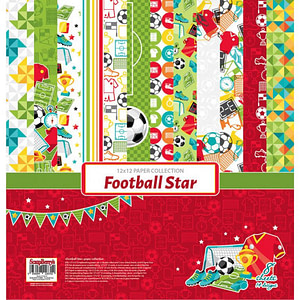 SET PAPELES SCRAP 30X30 SCRAPBERRY'S FOOTBALL