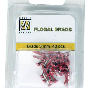 BRADS 3mm GLITTER ROJO (40UND.)