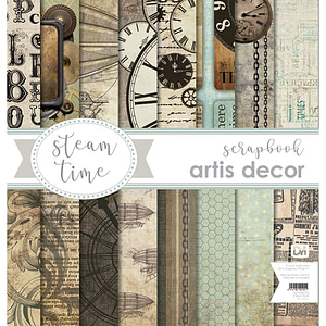 "COLECCION PAPEL SCRAP 12X12"" ARTIS DECOR ""STEAM TIME"" 8 HOJAS."