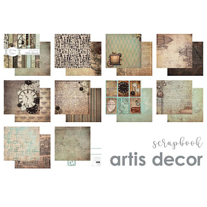 "COLECCION PAPEL SCRAP 6X6"" ARTIS DECOR ""STEAM TIME"" 15 HOJAS."