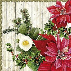 SERVILLETA 33X33cm  POINSETIA ON WOOD