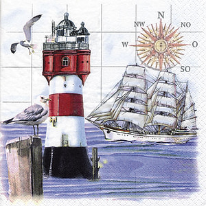 SERVILLETA 33X33cm LIGHTHOUSES & COMPASS
