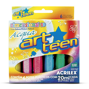 ART TEEN SURTIDO 6 COL. X 20ML. DIMENSIONAL ACQUA ACRILEX