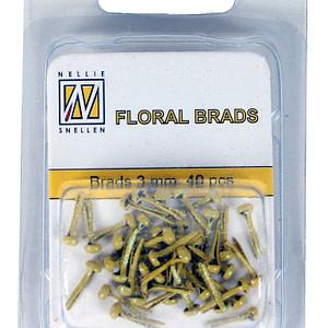 BRADS 3mm GLITTER AMARILLO (40UND.)