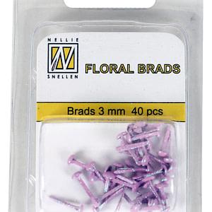 BRADS 3mm GLITTER ROSA (40UND.)