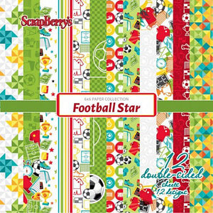SET PAPELES SCRAP 15X15 SCRAPBERRY'S FOOTBALL